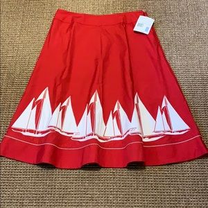 LIZ CLAIBORNE AMERICAN GETAWAY RED & WHITE SKIRT